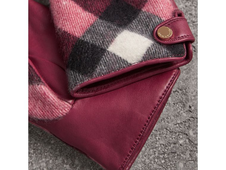 Leather and Check Cashmere Gloves in Fuchsia - Women | Burberry United States - cell image 2