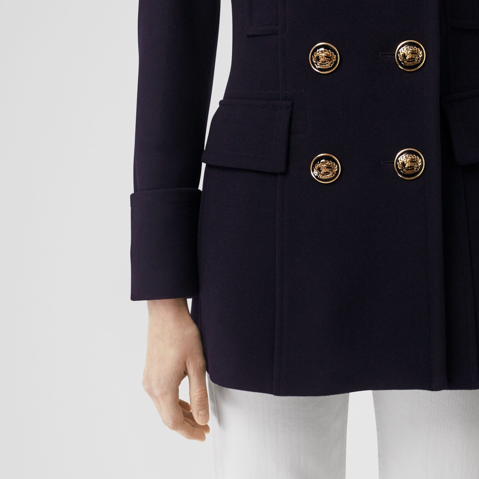 Doeskin Wool Tailored Pea Coat in Navy - Women | Burberry - gallery image 2
