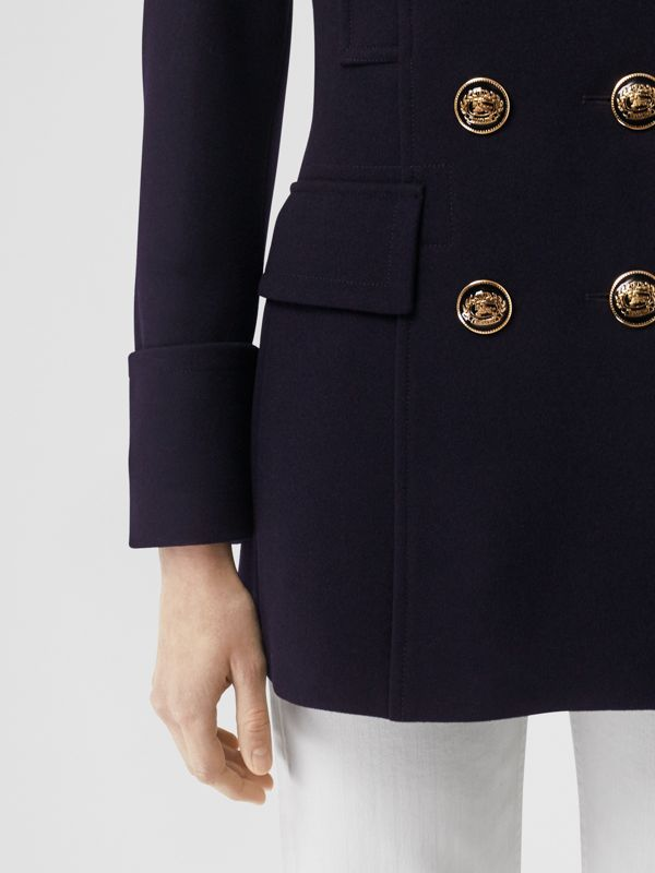 Doeskin Wool Tailored Pea Coat in Navy - Women | Burberry - cell image 2