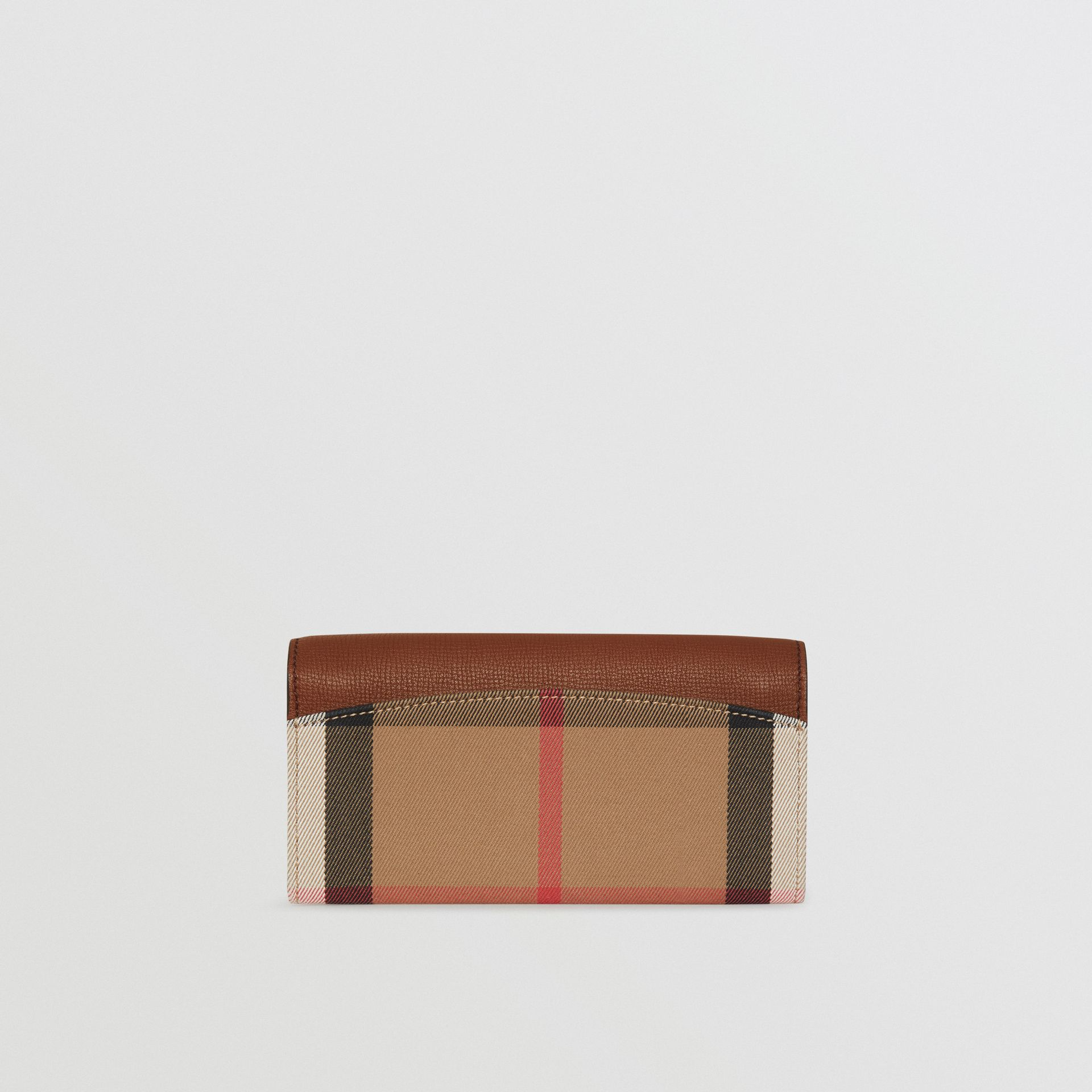 House Check And Leather Continental Wallet in Tan - Women | Burberry - gallery image 5