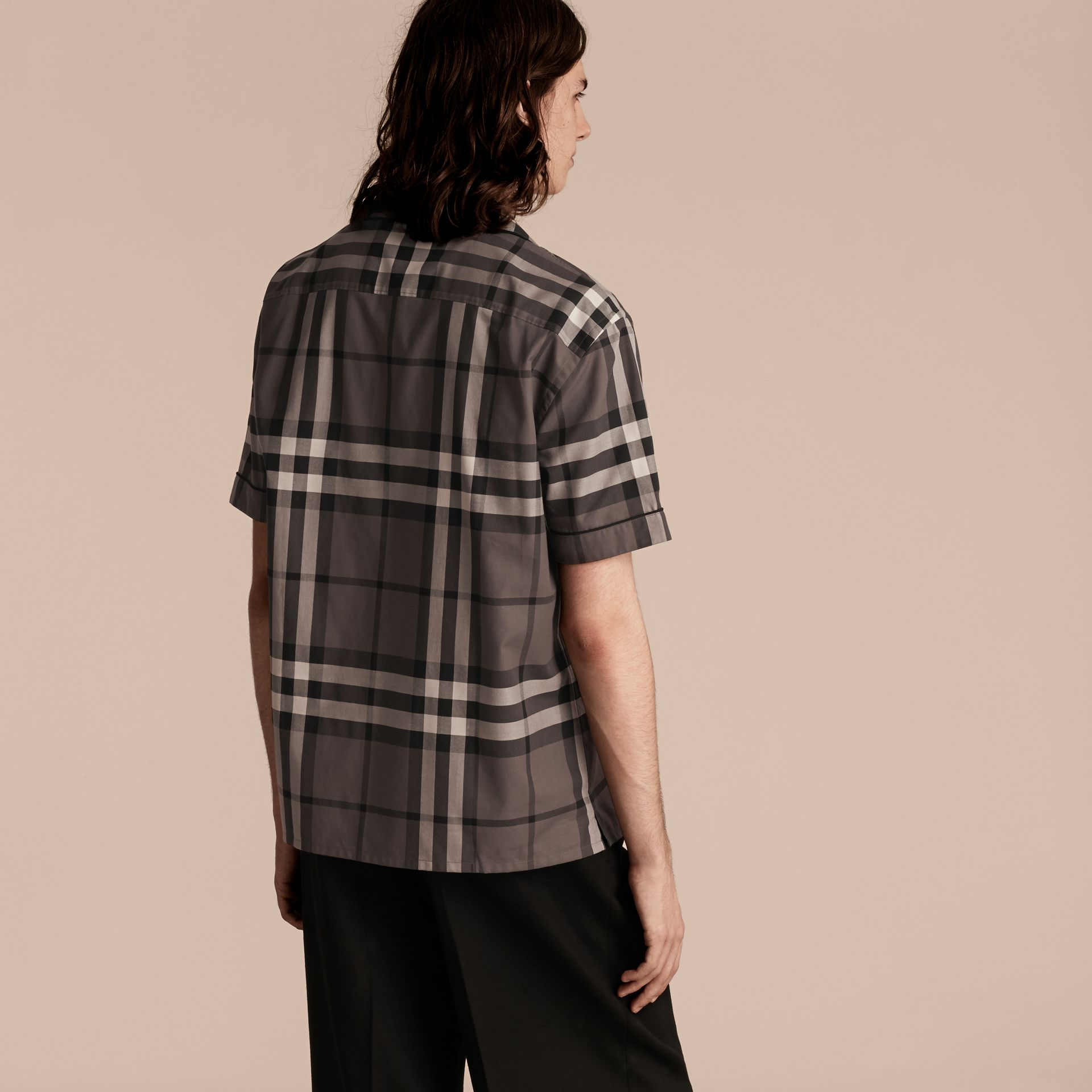 Charcoal Short-sleeved Check Cotton Pyjama-style Shirt Charcoal - gallery image 3