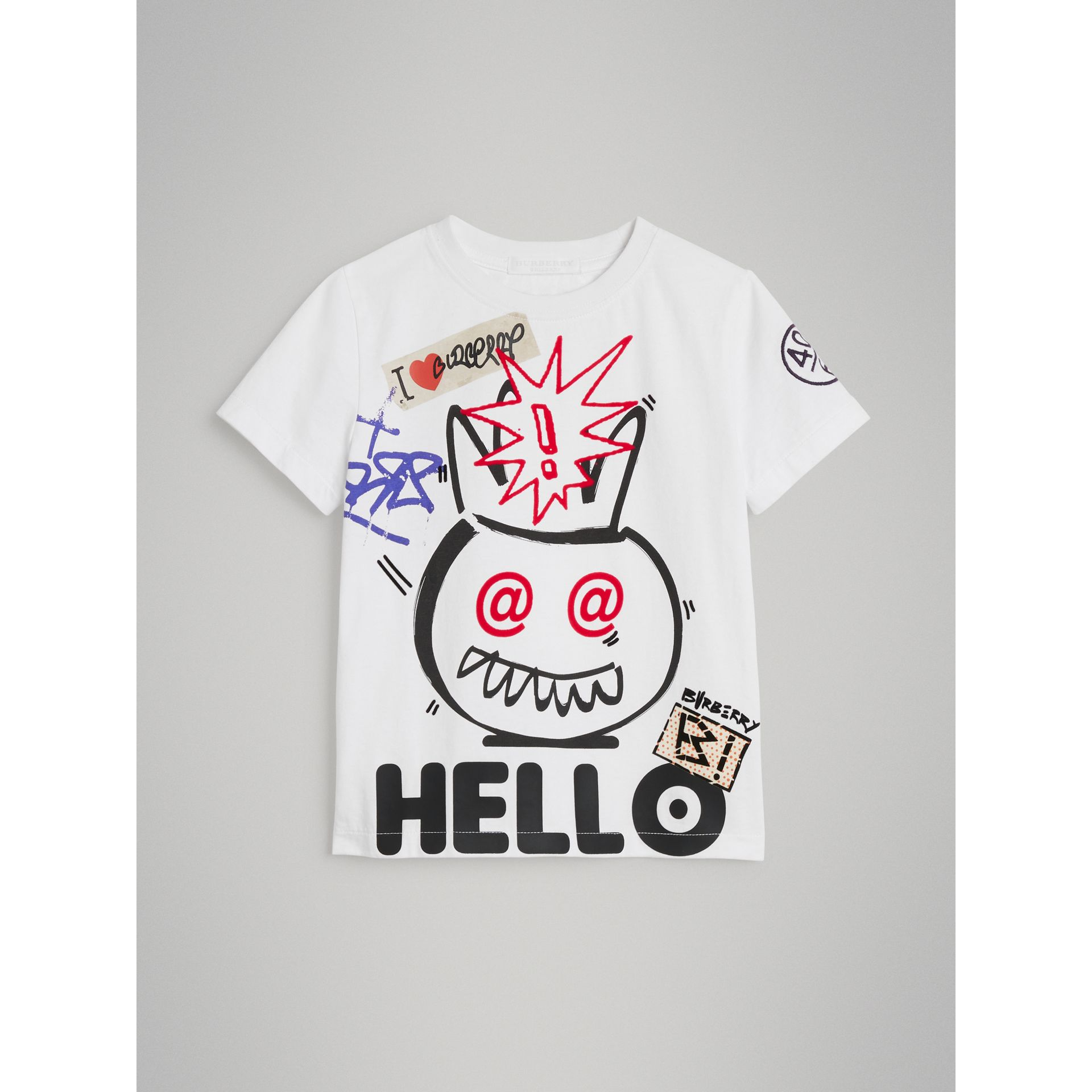 Hello Print Cotton T-shirt in White - Boy | Burberry - gallery image 0