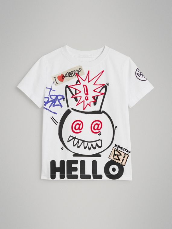 Hello Print Cotton T-shirt in White
