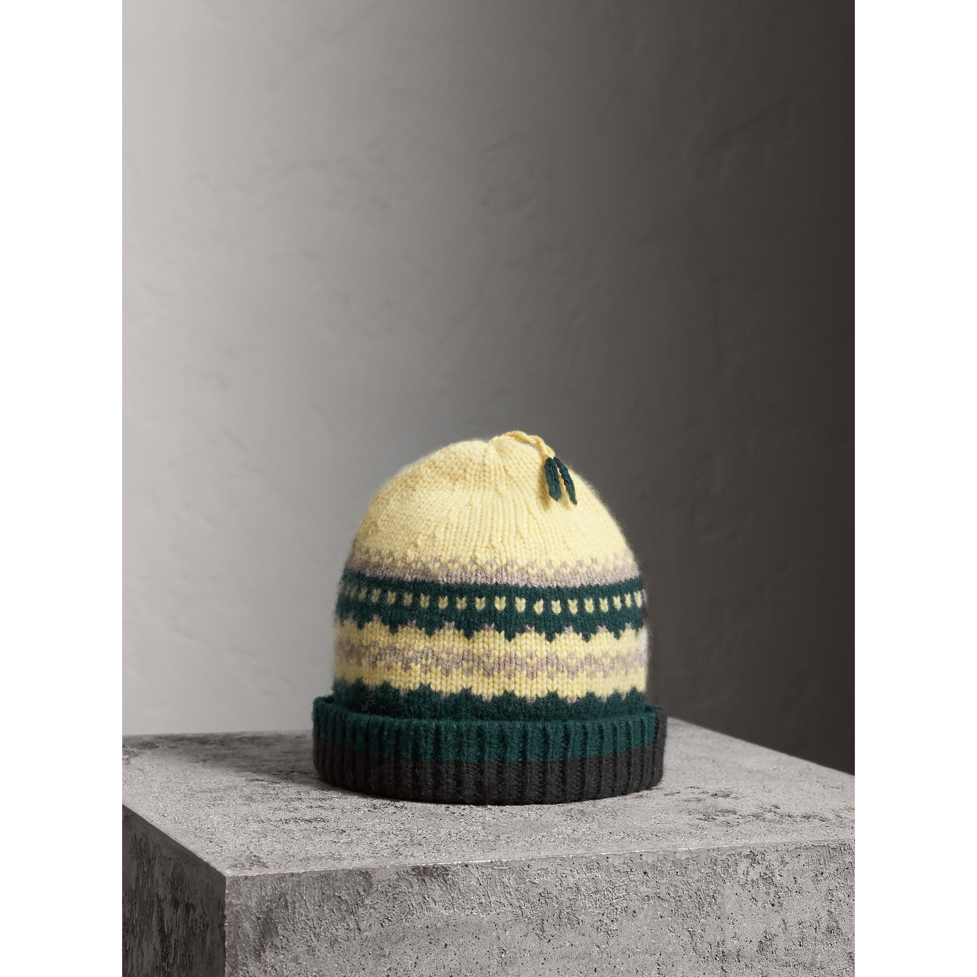 Fair Isle Cashmere Wool Blend Beanie in Pine Green | Burberry - gallery image 1
