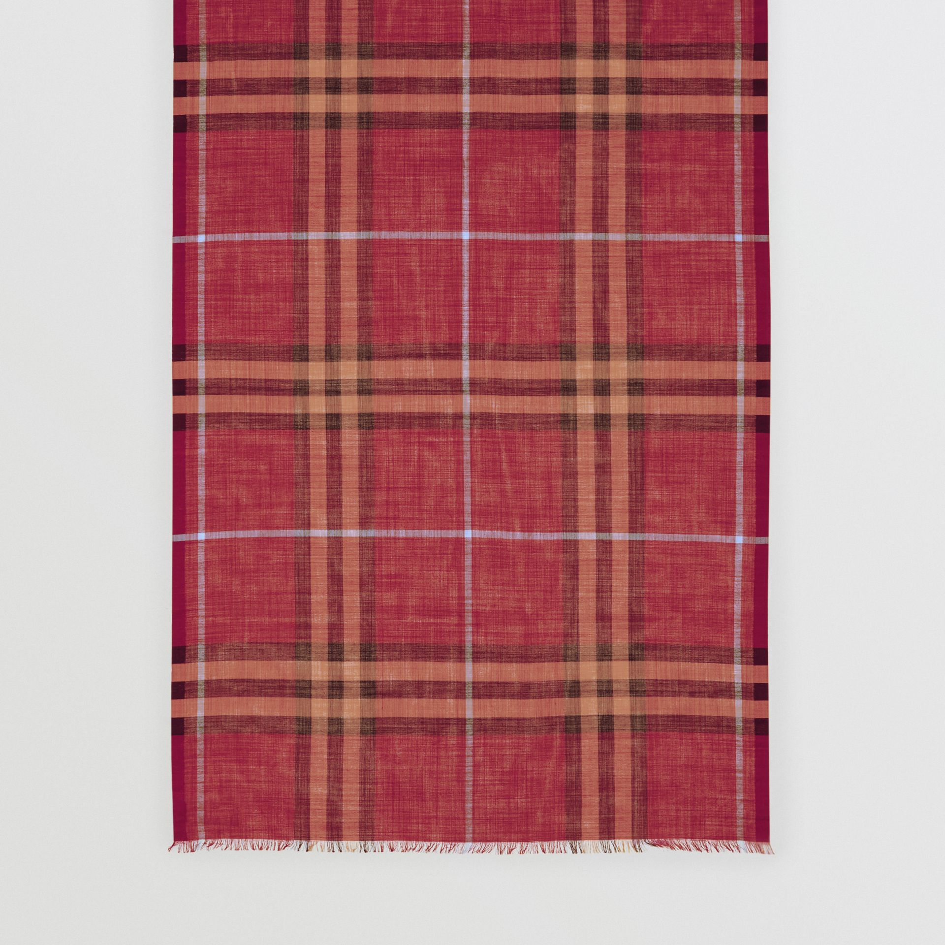 Lightweight Check Wool and Silk Scarf in Damson Pink | Burberry - gallery image 4