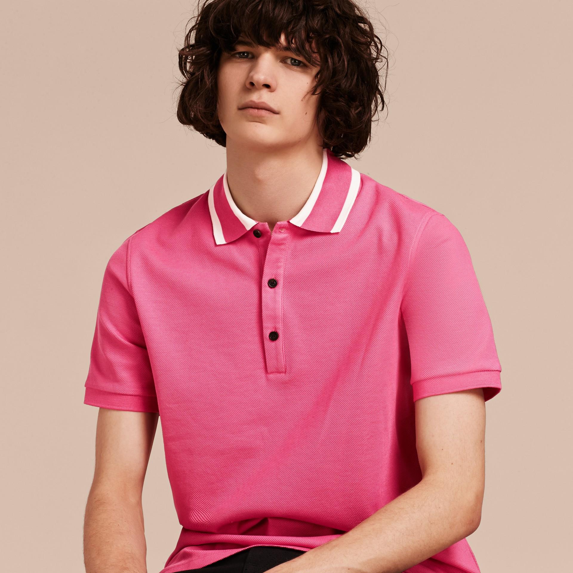 Striped Collar Cotton Piqué Polo Shirt Bright Crimson Pink - gallery image 6