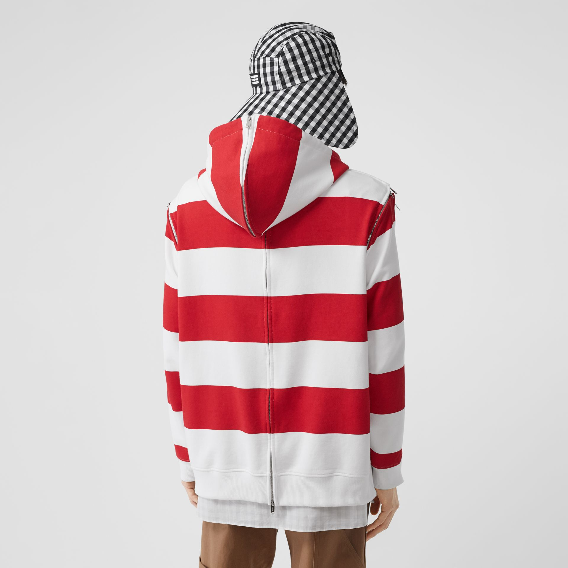 Zip Detail Striped Cotton Hoodie in Red | Burberry - gallery image 2