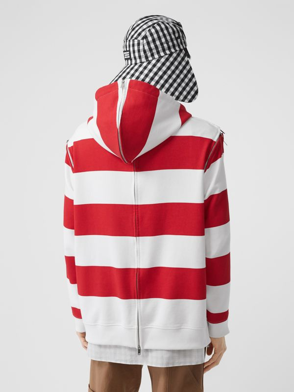 Zip Detail Striped Cotton Hoodie in Red | Burberry - cell image 2