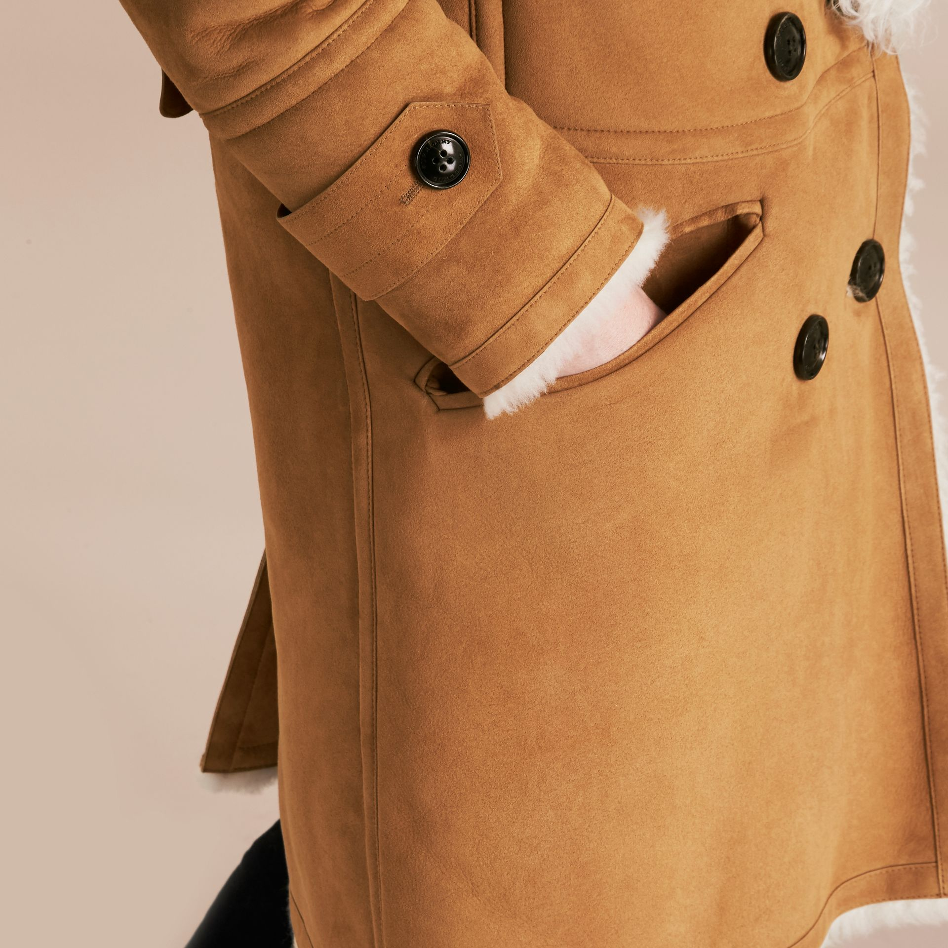 Ecru/tan Double-breasted Shearling Coat - gallery image 6