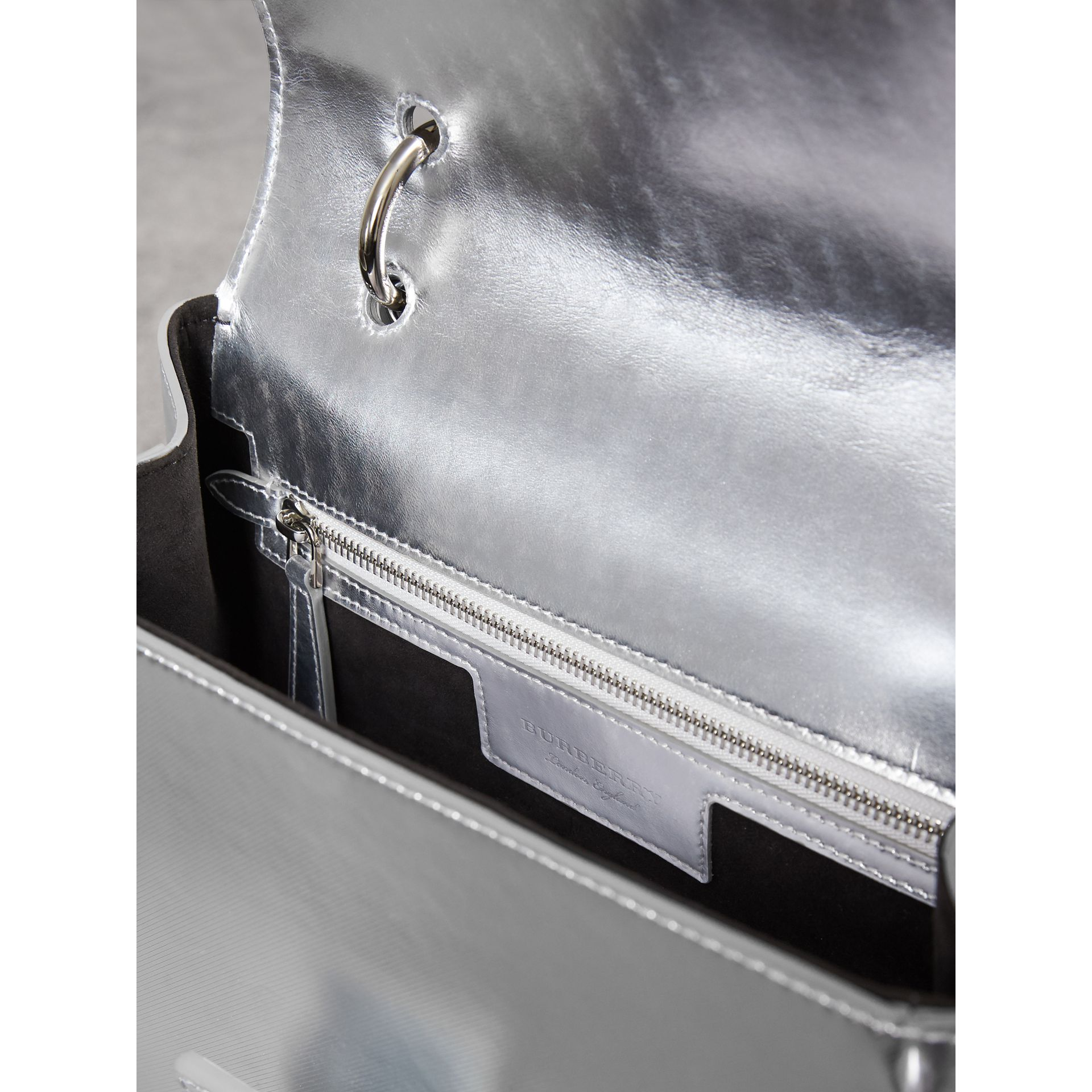 The Medium DK88 Top Handle Bag in Metallic Leather in Silver - Women | Burberry - gallery image 6
