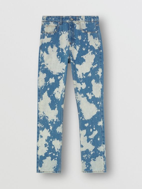 Straight Fit Monogram Motif Bleached Denim Jeans in Blue