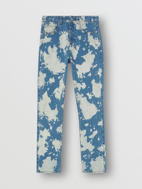 Straight Fit Monogram Motif Bleached Denim Jeans in Blue - Women | Burberry - cell image 3
