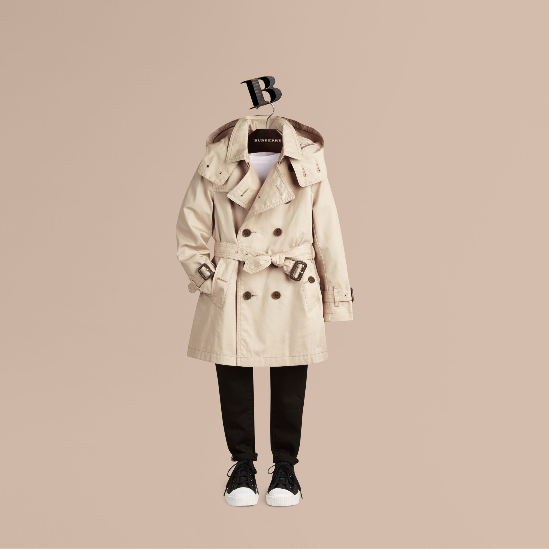 Hooded Cotton Twill Trench Coat - Boy | Burberry Australia - gallery image 1
