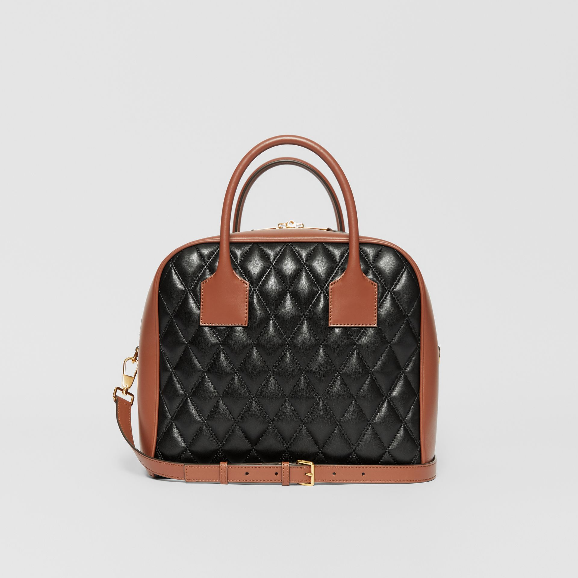 Medium Quilted Lambskin Cube Bag in Black - Women | Burberry - gallery image 5