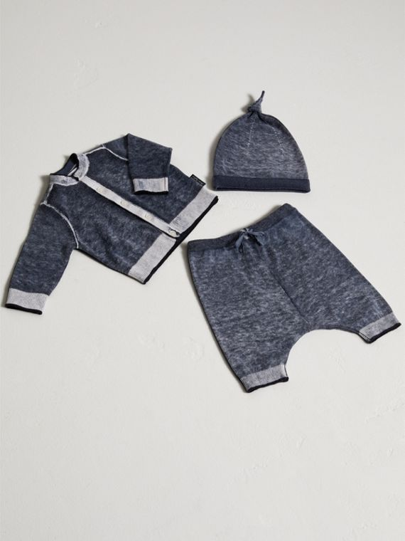 Cashmere Cotton Three-piece Baby Gift Set in Navy