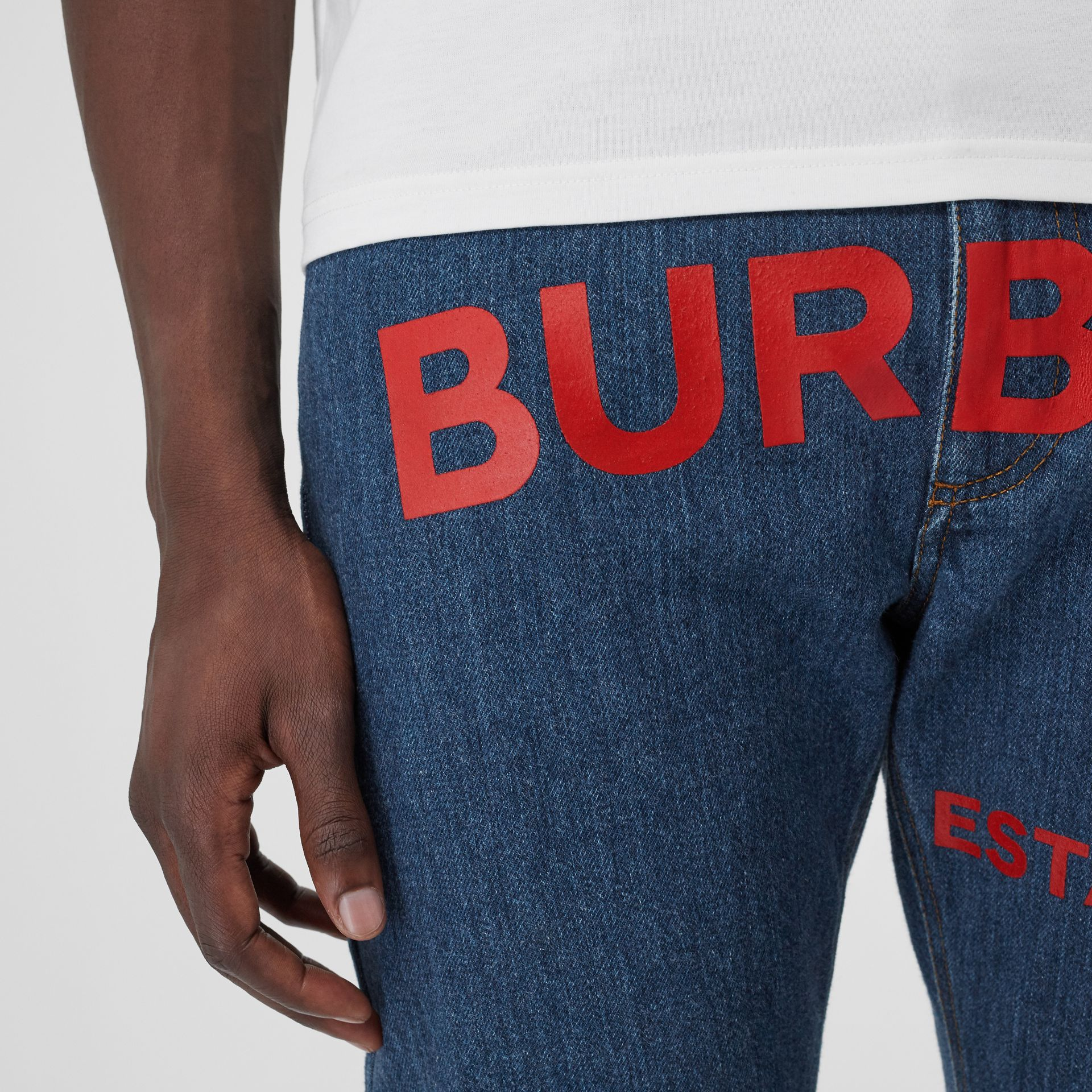 Straight Fit Horseferry Print Japanese Denim Jeans in Mid Indigo Blue - Men | Burberry Australia - gallery image 1