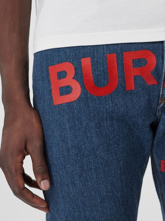 Straight Fit Horseferry Print Japanese Denim Jeans in Mid Indigo Blue - Men | Burberry Australia - cell image 1