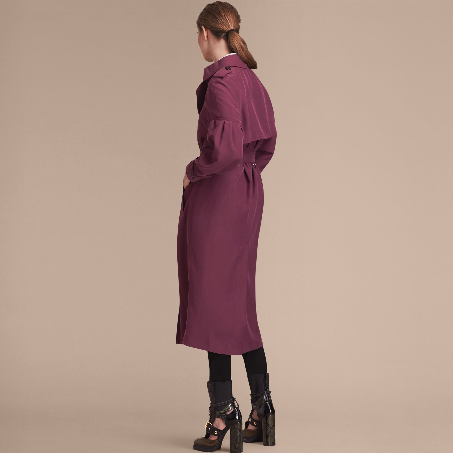 Oversize Silk Trench Coat with Puff Sleeves in Burgundy - Women | Burberry - gallery image 2