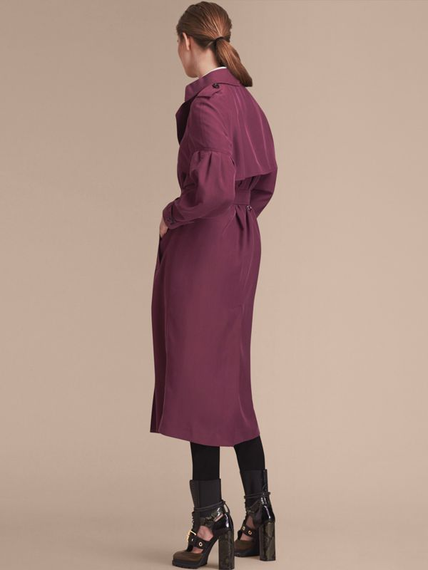 Oversize Silk Trench Coat with Puff Sleeves in Burgundy - Women | Burberry - cell image 2
