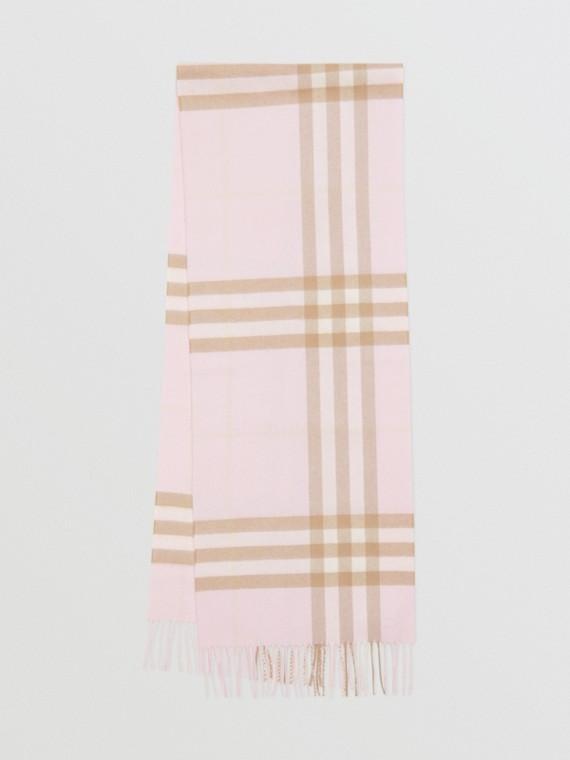 Cachecol de cashmere com estampa xadrez clássica (Alabastro)