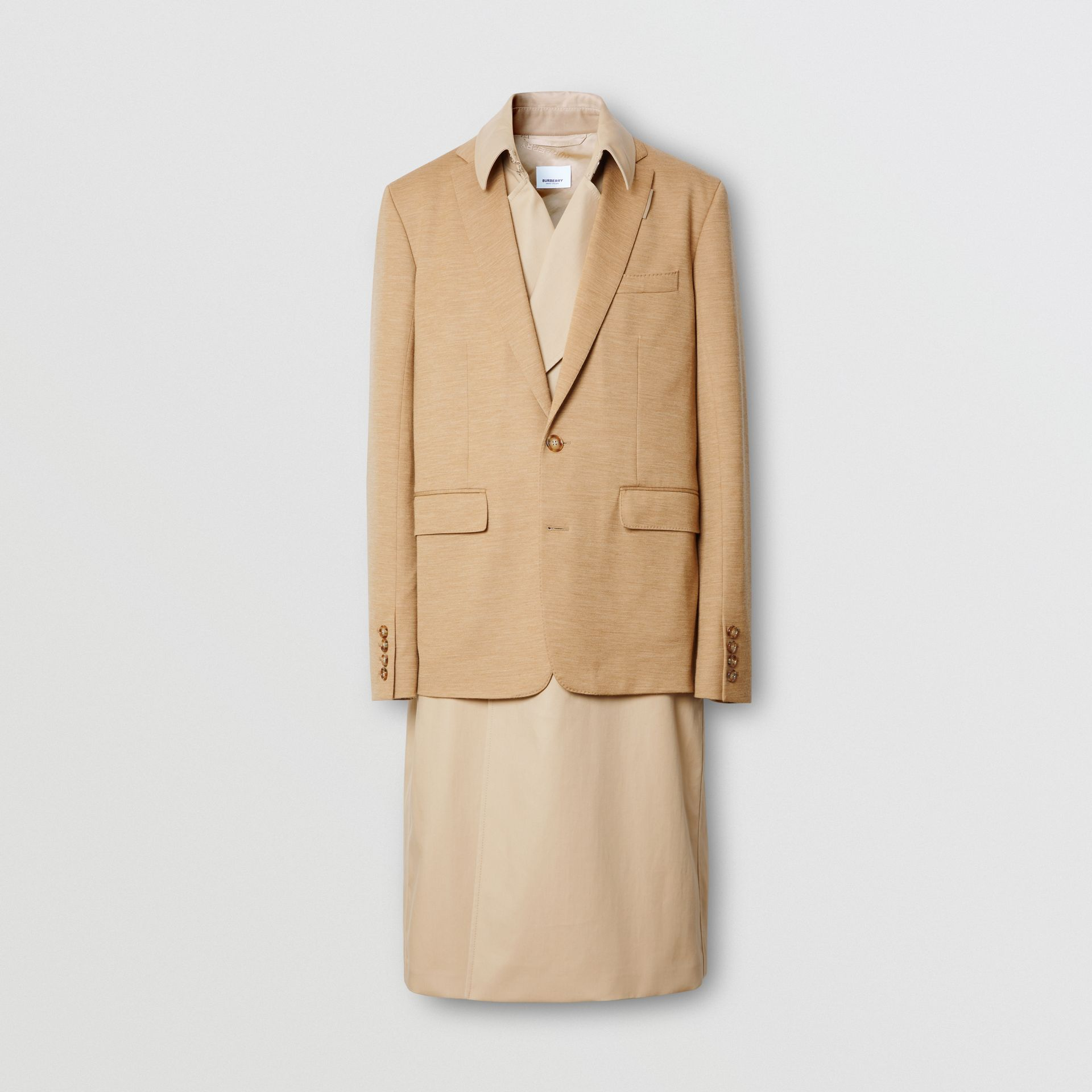 Blazer Detail Cotton Twill Reconstructed Trench Coat in Soft Fawn - Men | Burberry - gallery image 3