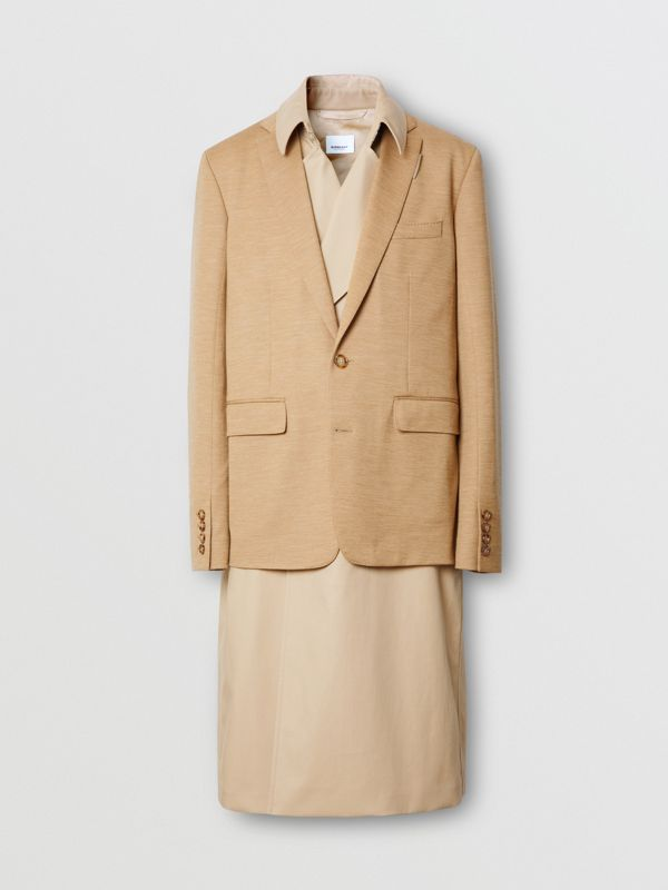 Blazer Detail Cotton Twill Reconstructed Trench Coat in Soft Fawn - Men | Burberry - cell image 3