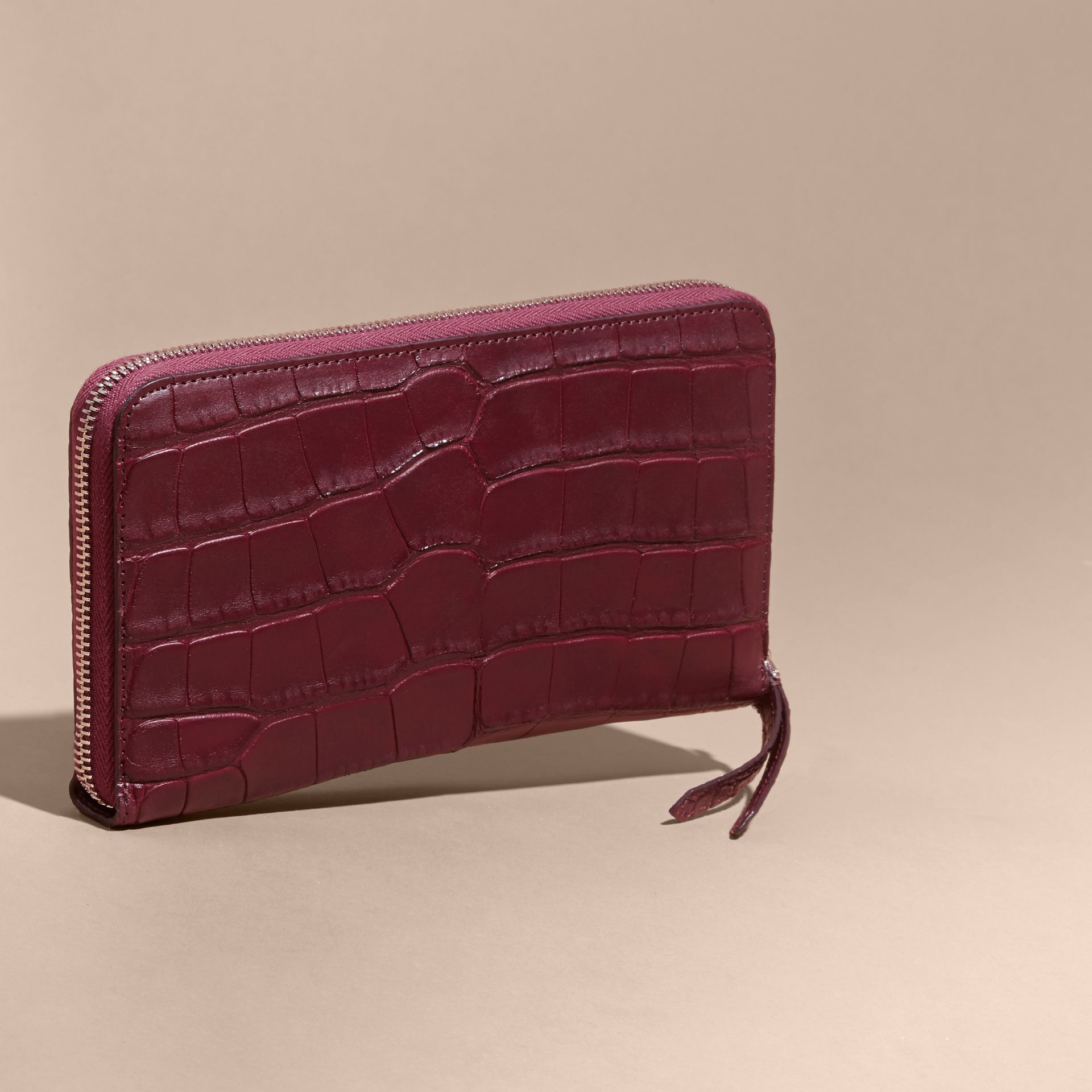 Deep claret Alligator and Leather Ziparound Wallet - gallery image 4
