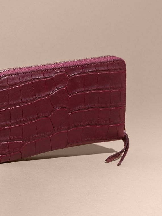 Deep claret Alligator and Leather Ziparound Wallet - cell image 3