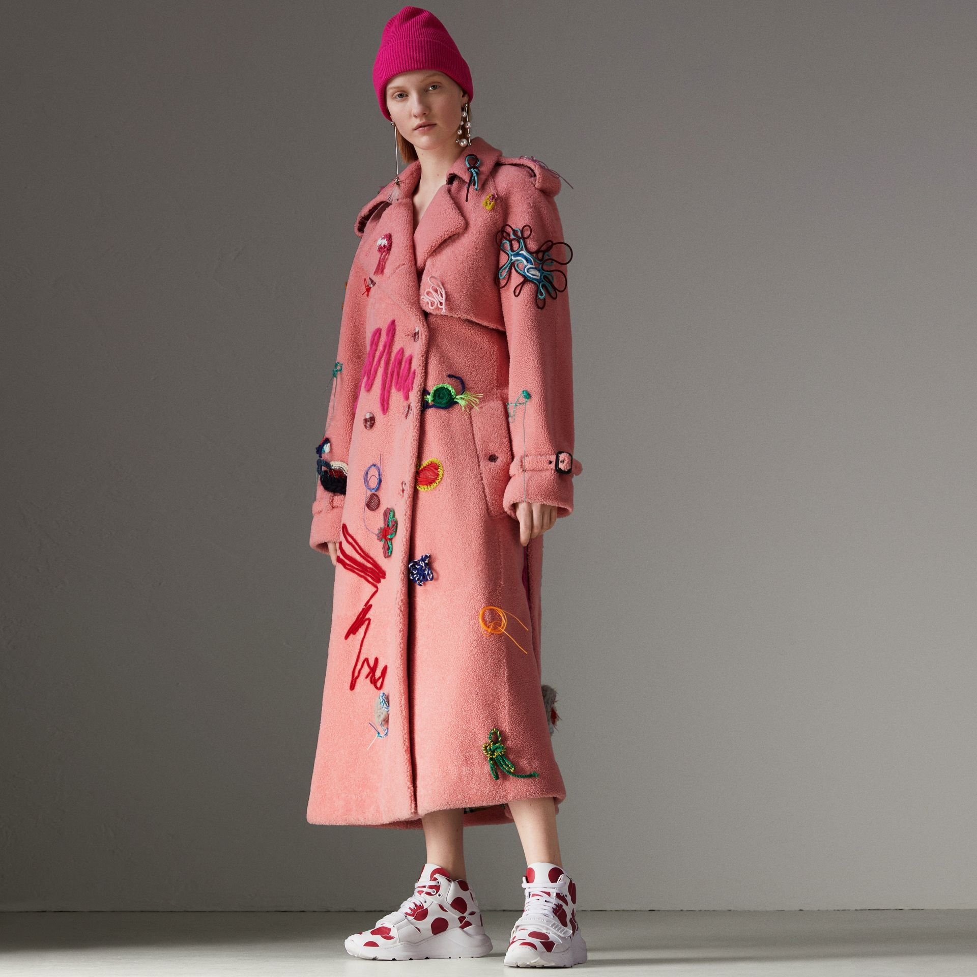 Embellished Shearling Trench Coat in Bright Pink - Women | Burberry - gallery image 0
