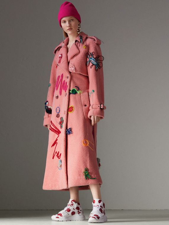 Embellished Shearling Trench Coat in Bright Pink