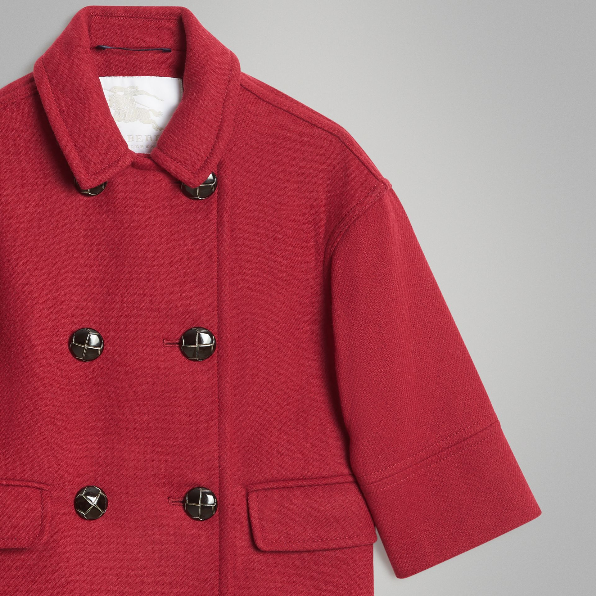 Double-faced Wool Pea Coat in Windsor Red | Burberry - gallery image 4