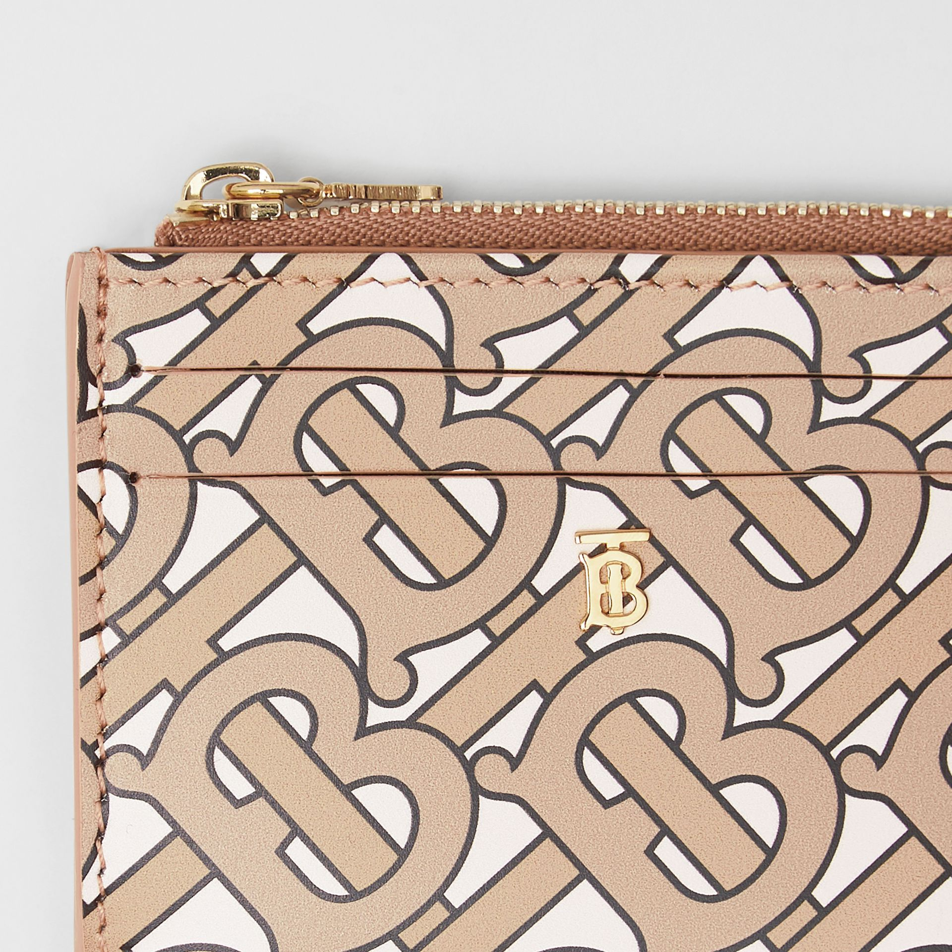 Monogram Print Leather Zip Card Case in Beige - Women | Burberry - gallery image 1
