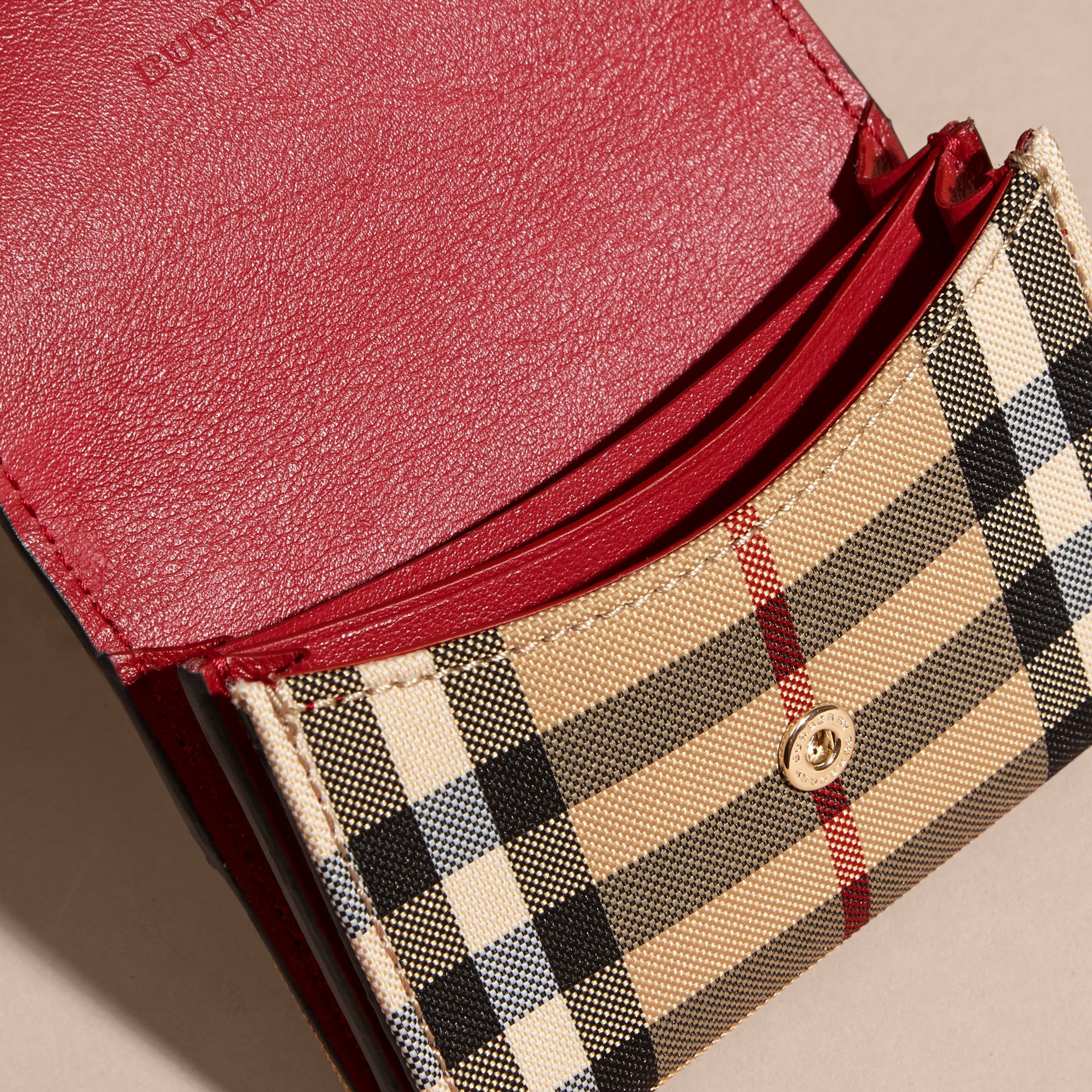 Horseferry Check and Leather Card Case in Parade Red - gallery image 5