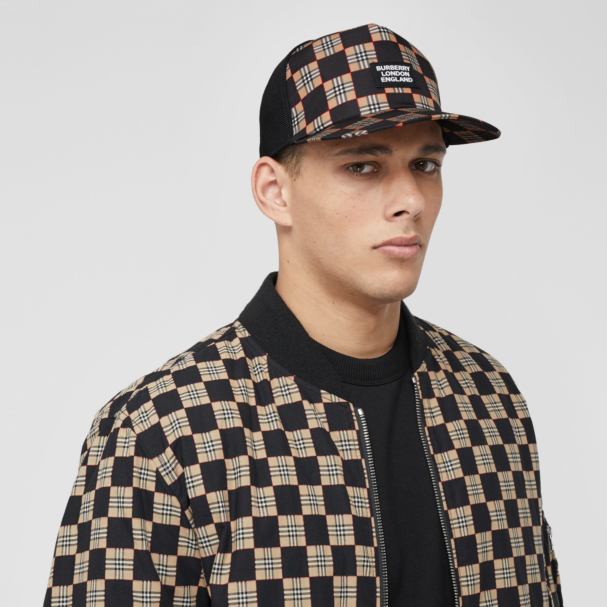 Chequer ECONYL® and Mesh Baseball Cap in Black/archive Beige | Burberry - 4
