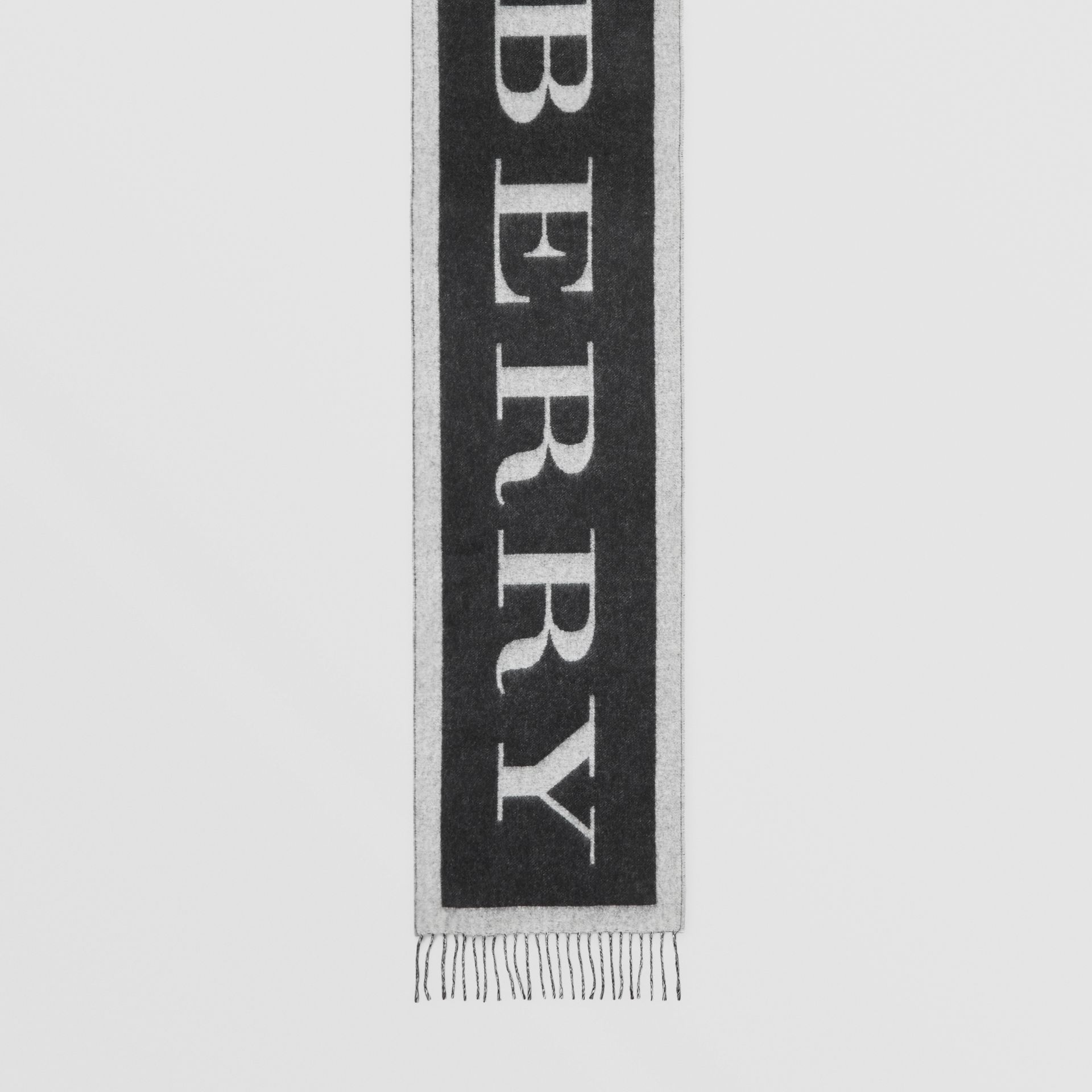 Logo Cashmere Wool Jacquard Scarf in White/black | Burberry United Kingdom - gallery image 2