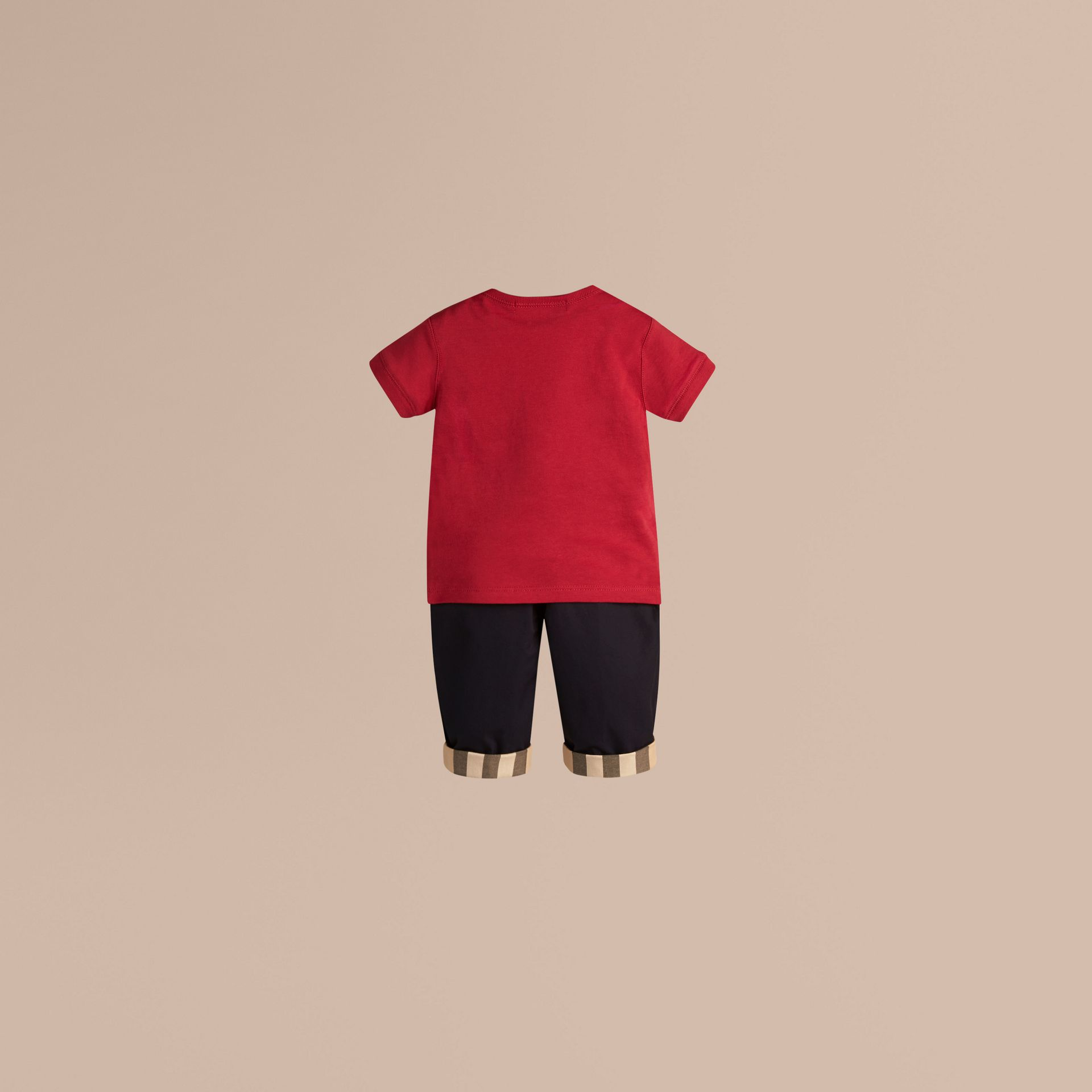 Check Pocket T-shirt in Military Red - Boy | Burberry Canada - gallery image 2