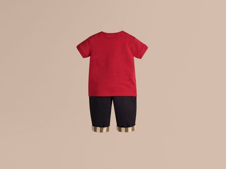 Check Pocket T-shirt in Military Red - Boy | Burberry - cell image 1
