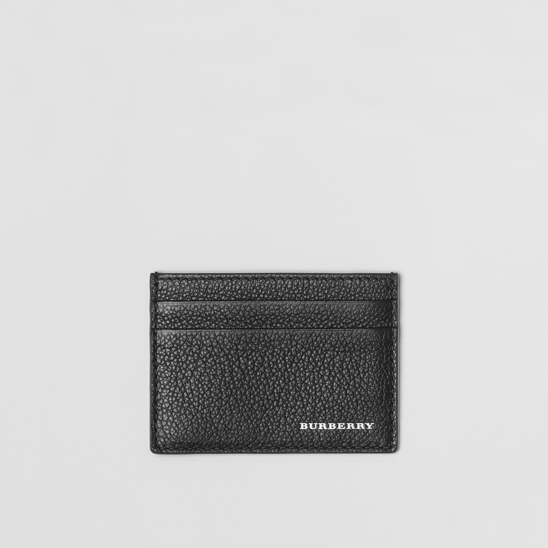 Grainy Leather Card Case in Black | Burberry United Kingdom - gallery image 0