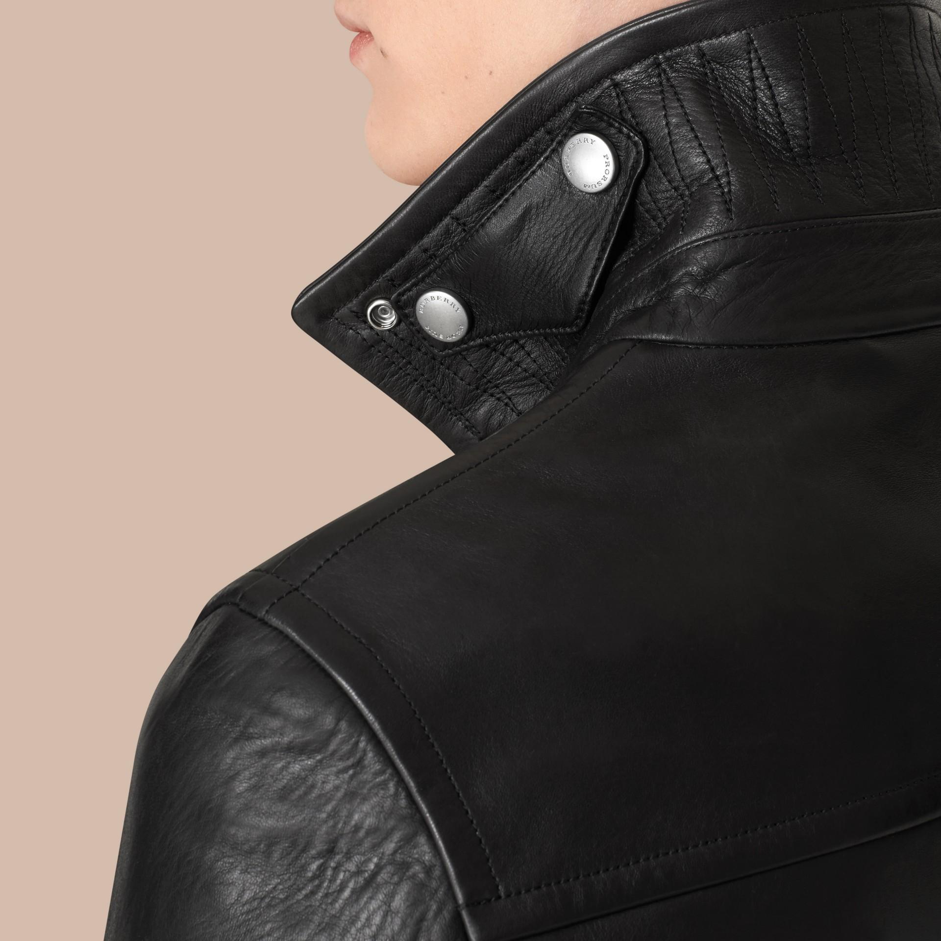 가죽 바이커 재킷 (블랙) - 남성 | Burberry - 갤러리 이미지 6