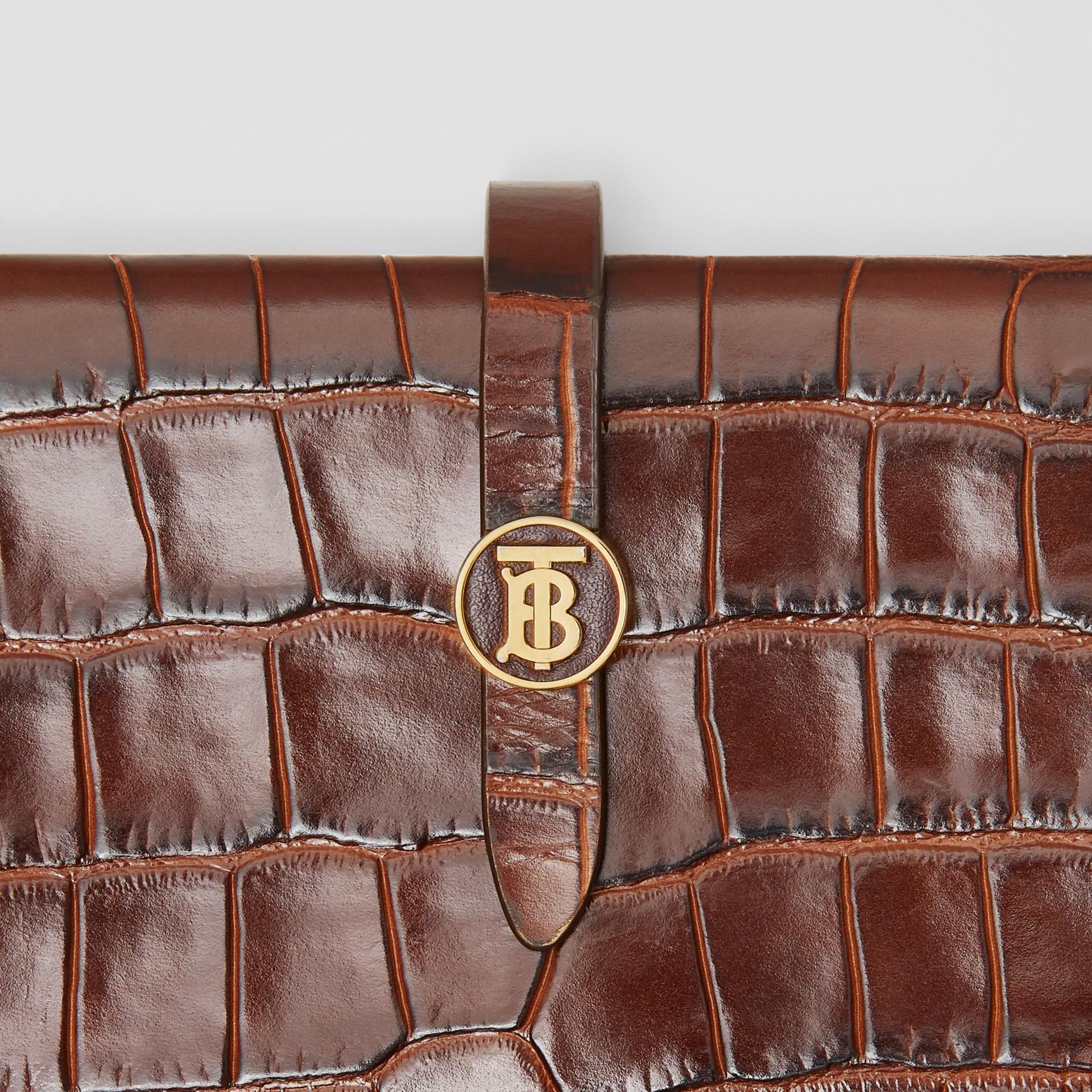 Monogram Motif Embossed Leather Folding Wallet in Tan - Women | Burberry - gallery image 1