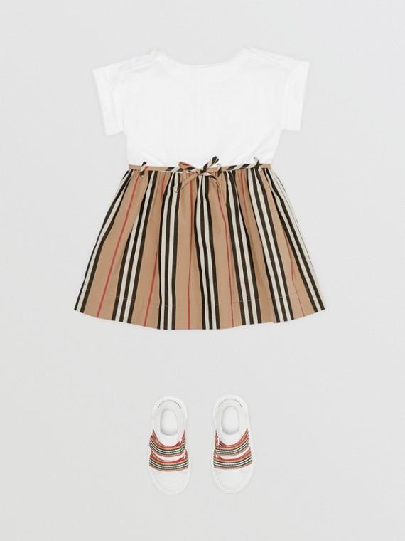 Icon Stripe Cotton Dress in White