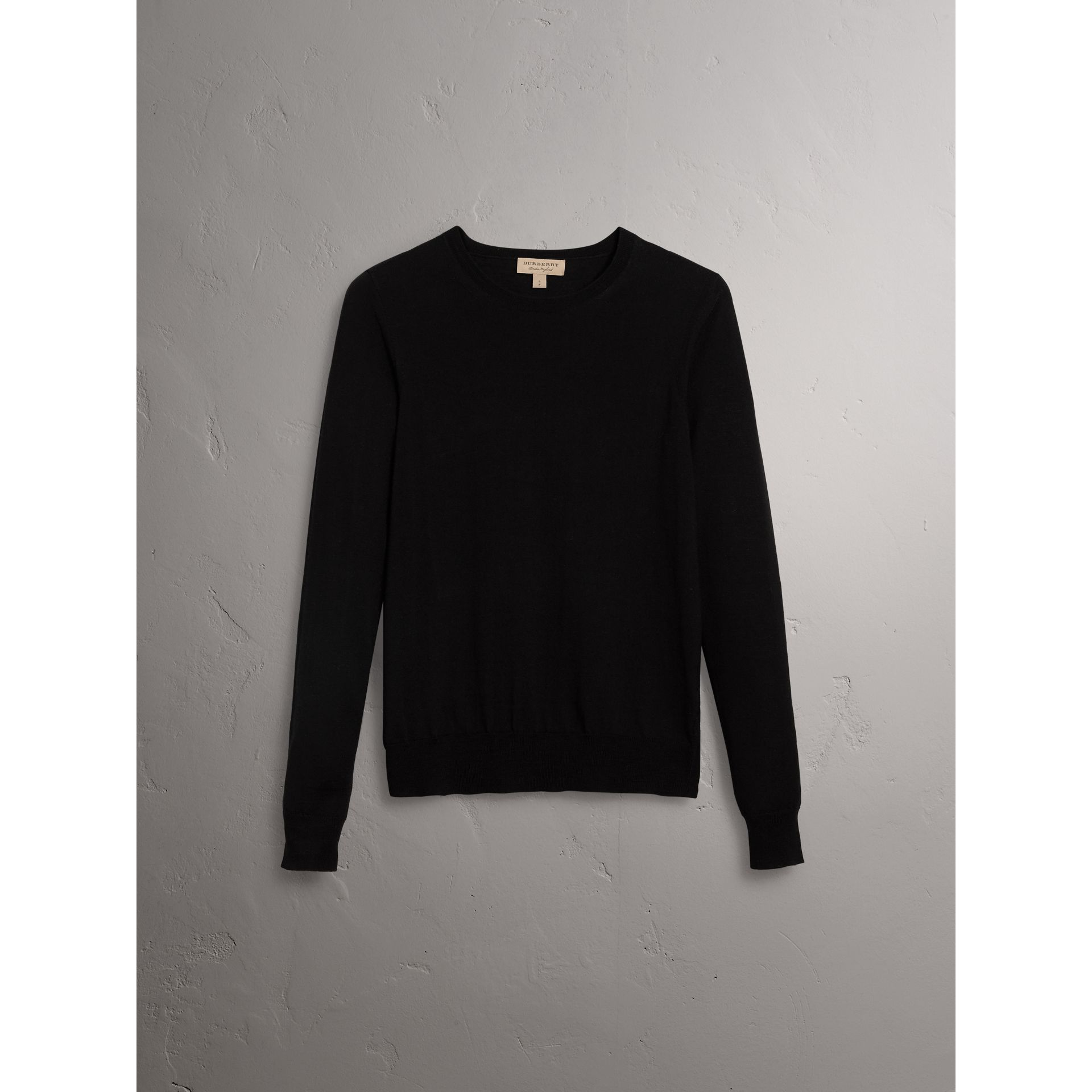 Check Detail Merino Wool Sweater in Black - Women | Burberry United Kingdom - gallery image 3
