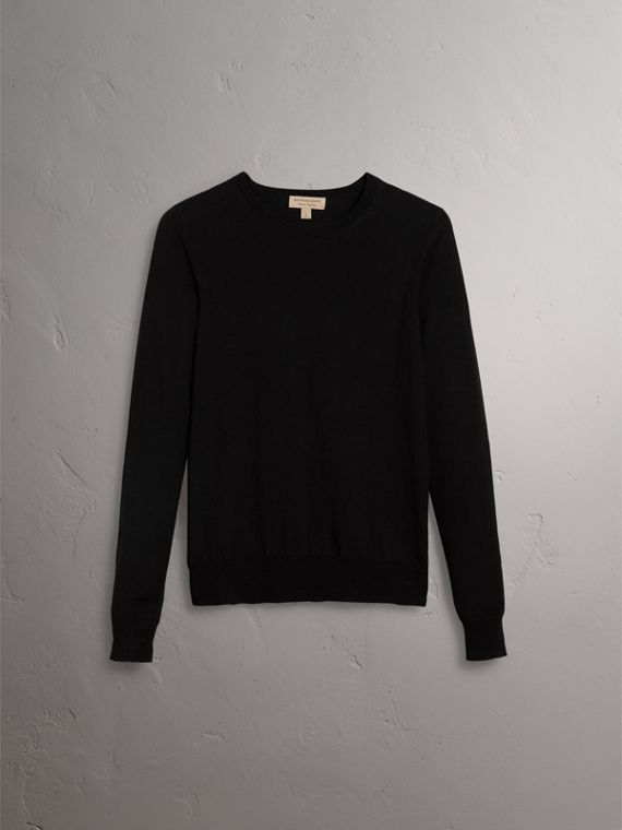 Check Detail Merino Wool Sweater in Black - Women | Burberry United States - cell image 3