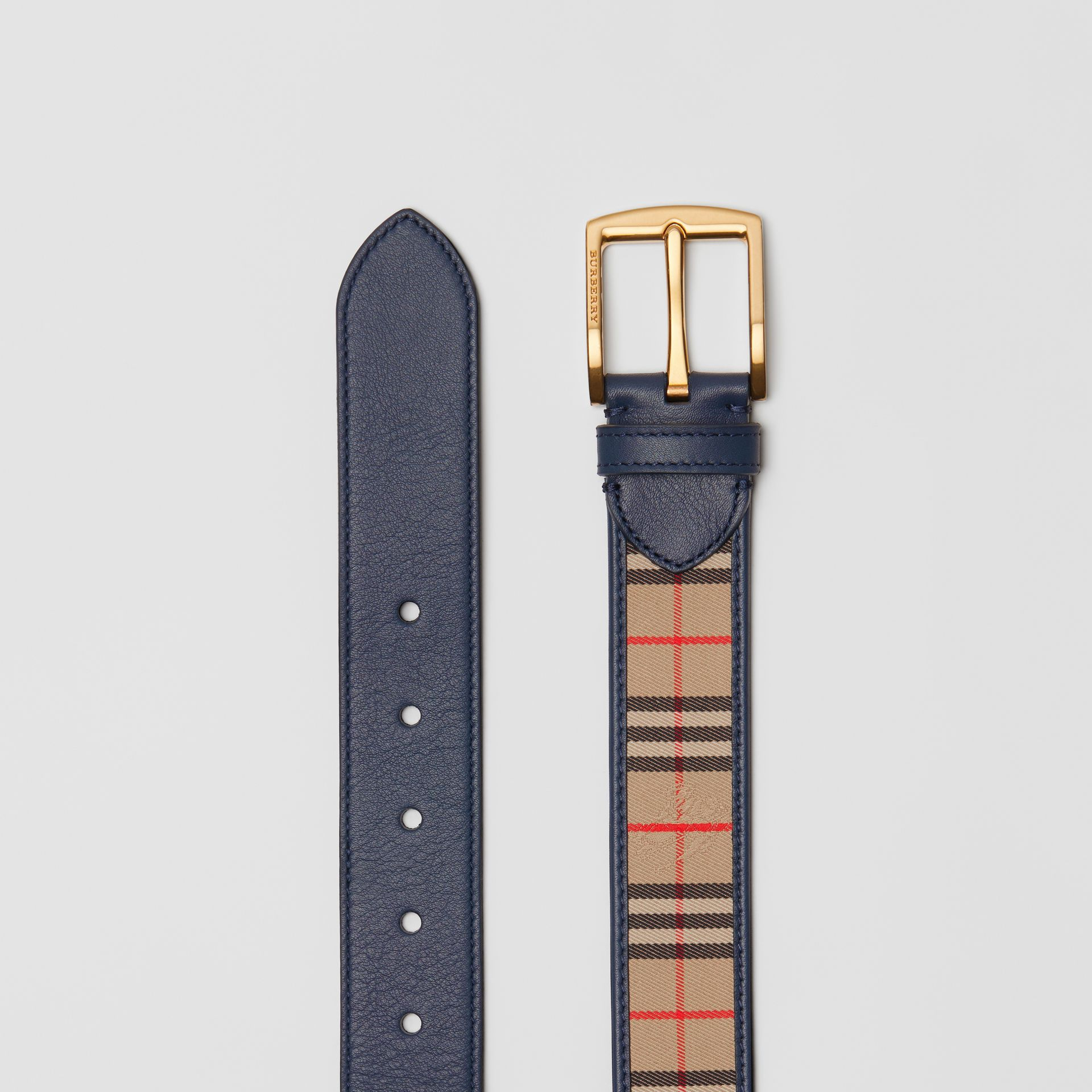 1983 Check and Leather Belt in Ink Blue - Men | Burberry Canada - gallery image 5