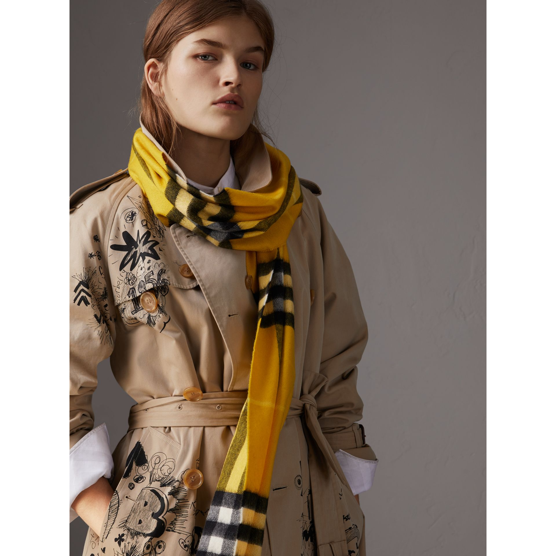 The Classic Check Cashmere Scarf in Gorse Yellow | Burberry United Kingdom - gallery image 2