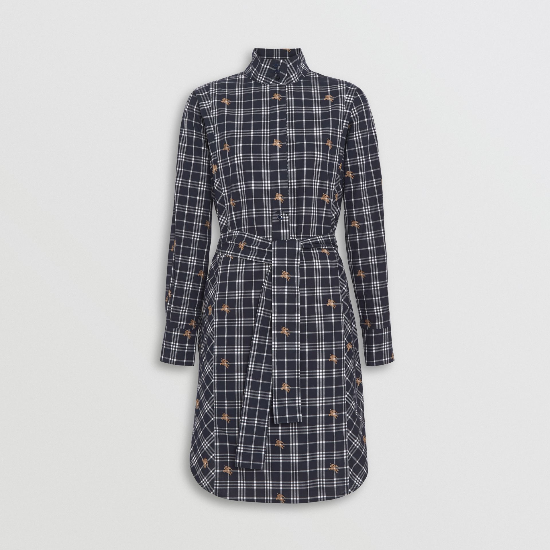 Equestrian Knight Check Tie-waist Shirt Dress in Navy - Women | Burberry Australia - gallery image 3
