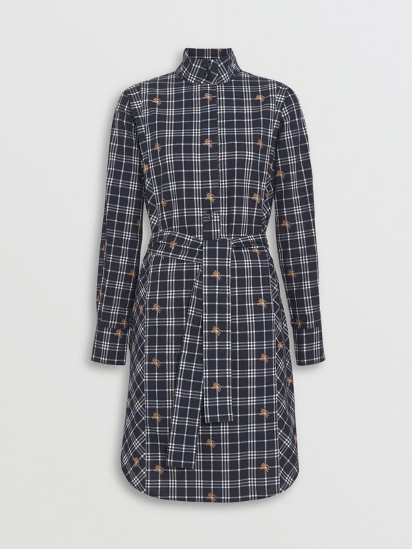 Fil Coupé Check Cotton Tie-waist Shirt Dress in Navy - Women | Burberry - cell image 3