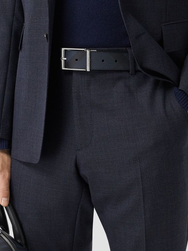 Reversible London Check and Leather Belt in Navy/black - Men | Burberry United Kingdom - cell image 2