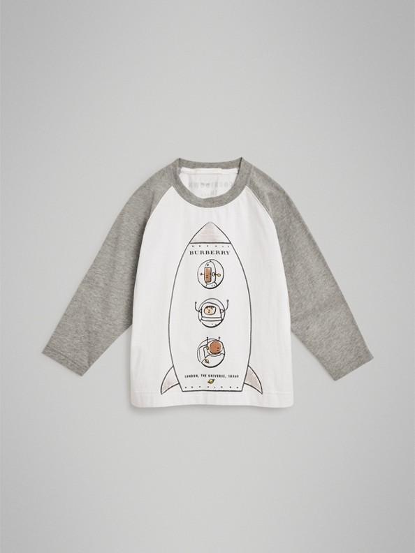 T-shirt en coton à manches longues avec motif fusée (Blanc)