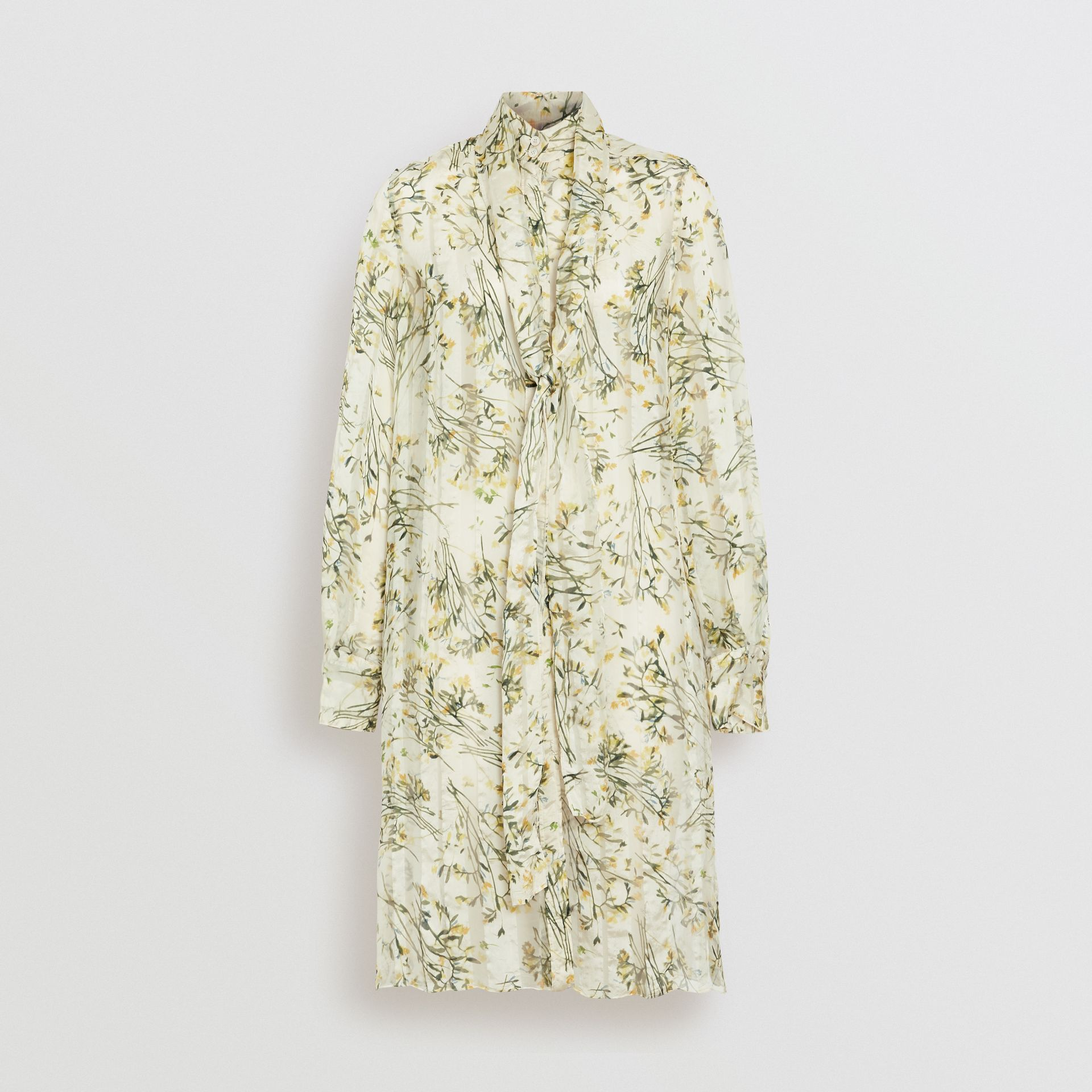 Floral Print Organza Tie-neck Shirt Dress in Lawn Green - Women | Burberry - gallery image 3